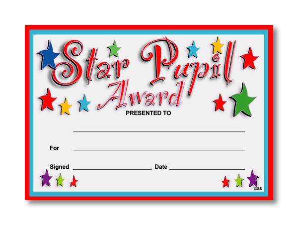 Certificate clipart certificate star. Pupil award