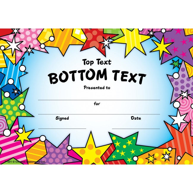 Medley personalised certificates. Certificate clipart certificate star