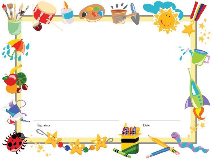 Certificate template for kids. Diploma clipart preschool