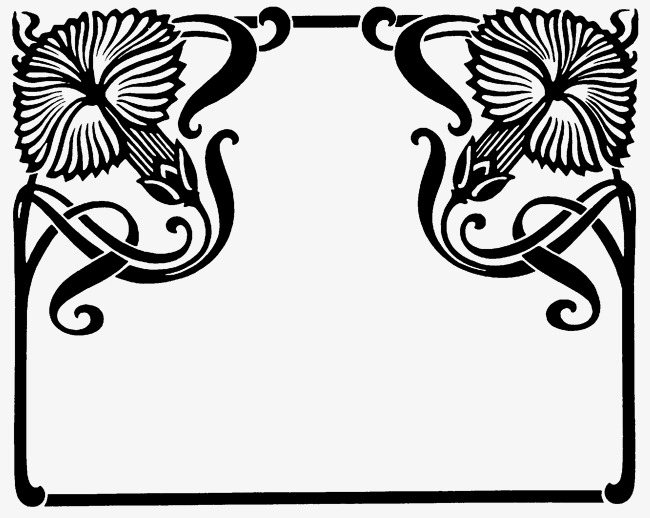 Black lace pattern border. Certificate clipart corner