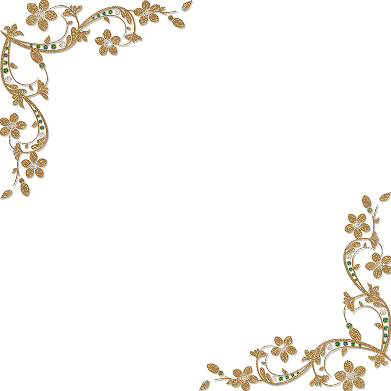Golden floral corners by. Corner frame png