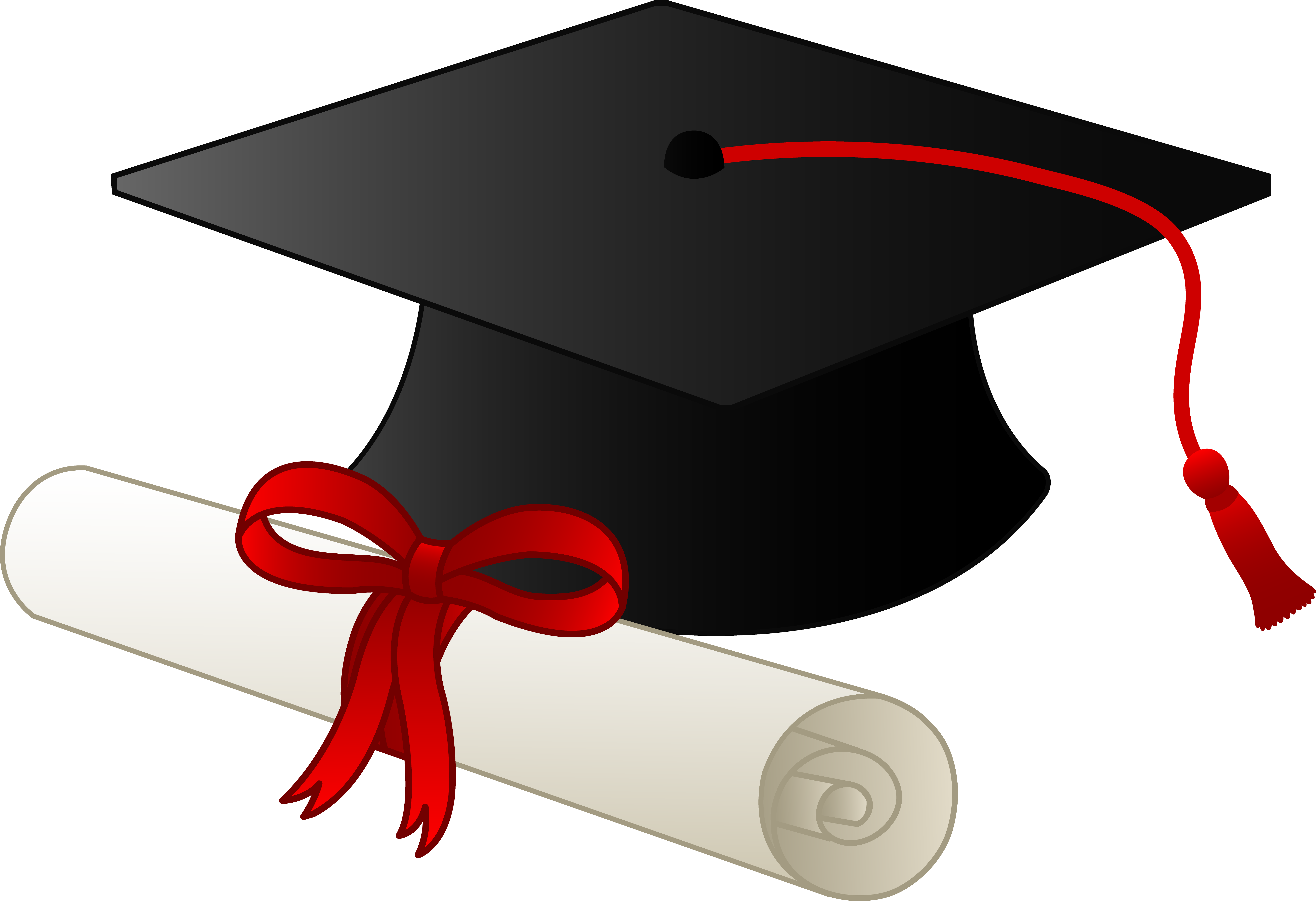 Crowd clipart graduation. Cap and diploma free