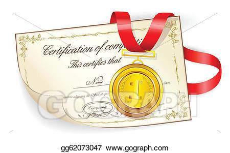 Good clipart medal certificate. Vector illustration on stock