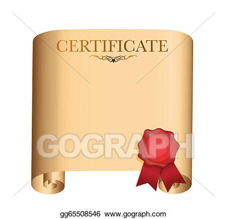 Certificate clipart scroll. Vector illustration with red