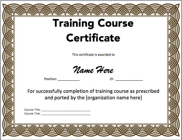 Certificate clipart training certificate. Word template incep imagine