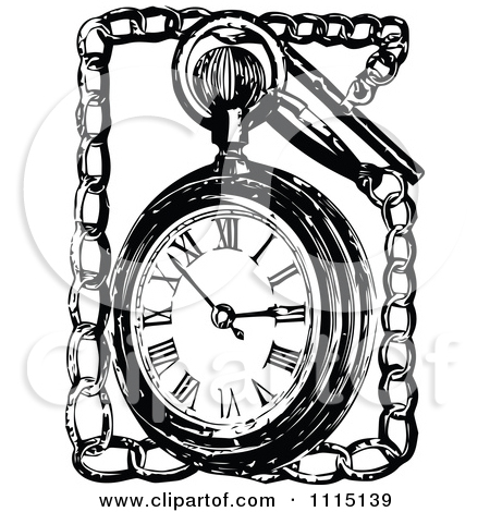 Chain clipart black and white. Pocket watch with
