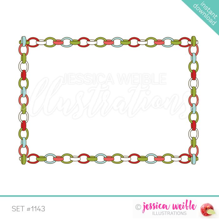 Chain clipart border. Christmas paper frame jw
