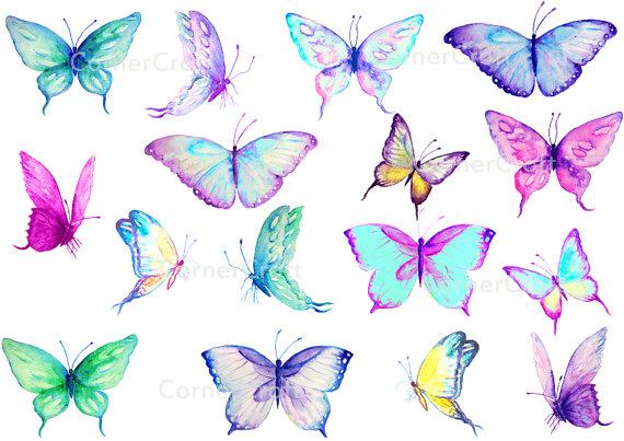 Watercolor butterflies blue purple. Chain clipart butterfly