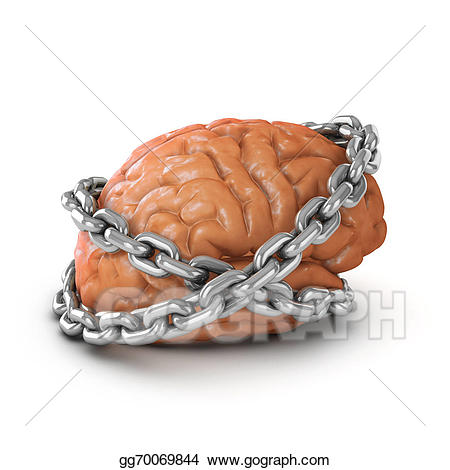 Stock illustration d brain. Chain clipart chained