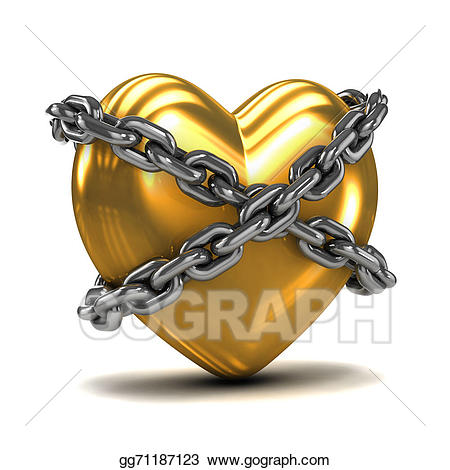 Drawing d gold heart. Chain clipart chained