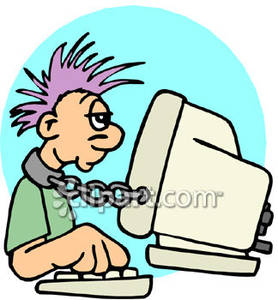 A guy to computer. Chain clipart chained