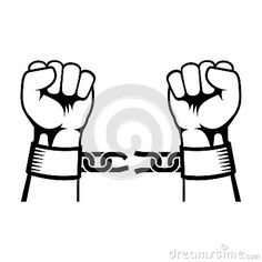Broken shackles drawing and. Chain clipart chained