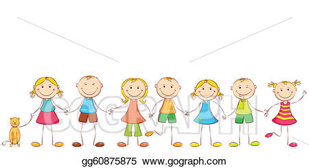 Chain clipart child. Vector holding hands illustration