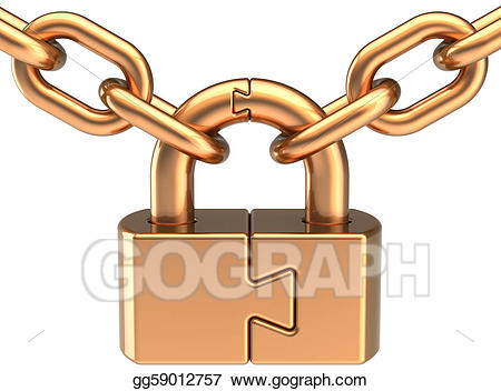Chain clipart colored. Stock illustration lock padlock