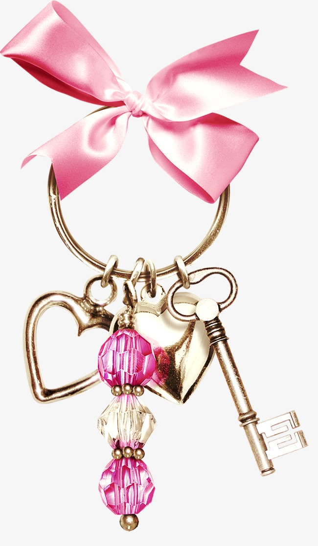 Chain clipart colored. Ribbon metal key heart
