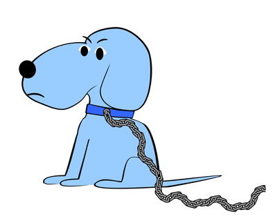 Lay blue . Chain clipart dog