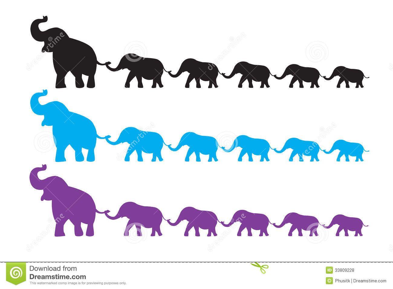 Tattoo elephants walking silhouette. Chain clipart elephant