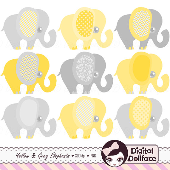 Chain clipart elephant. Yellow and gray clip