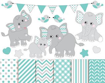 Chain clipart elephant. Clip art etsy baby