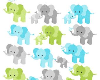 Sweet elephants set cute. Chain clipart elephant