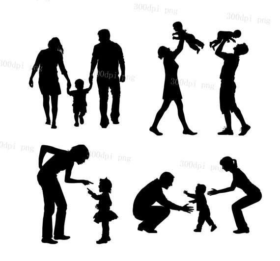 Chain clipart family. Silhouette at getdrawings com