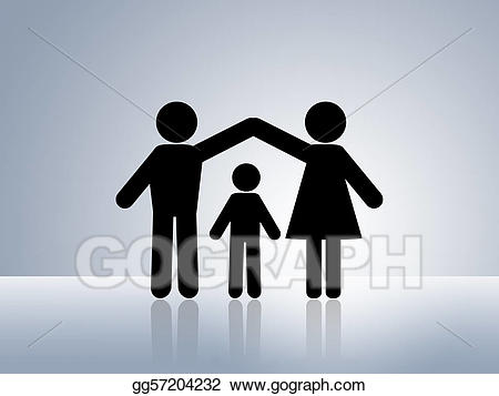 Chain clipart family. Stock illustration safe home