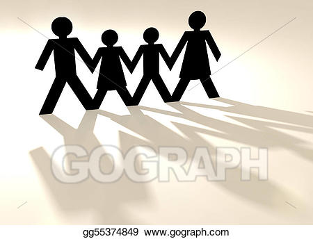 Stock illustration mixed group. Chain clipart family