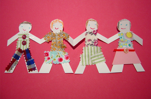 Chain clipart family. Making paper doll chains