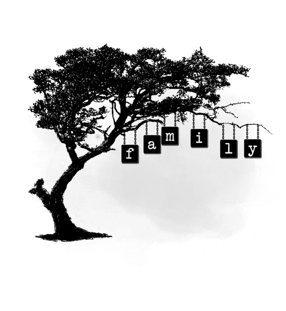 Family tree quote art. African clipart word