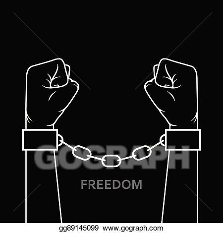Vector art clenched fist. Chain clipart hand