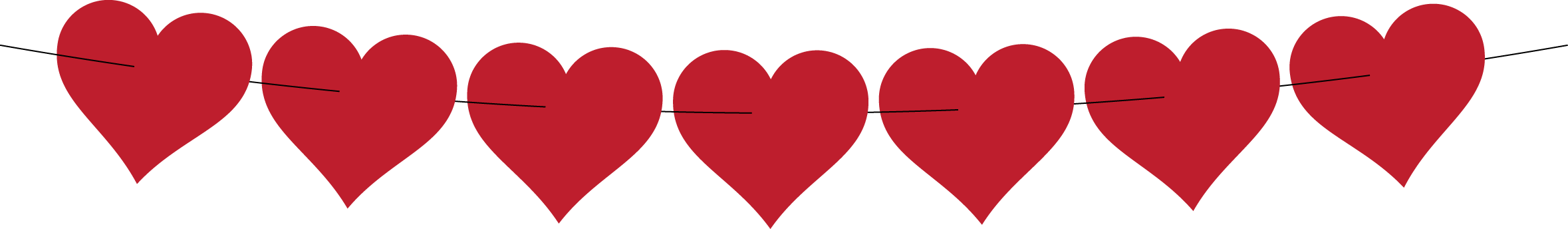 Valentines day heart clipart. Line of hearts png