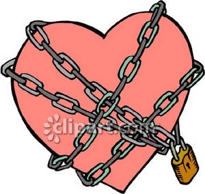 Chain clipart lock. A heart guarded under