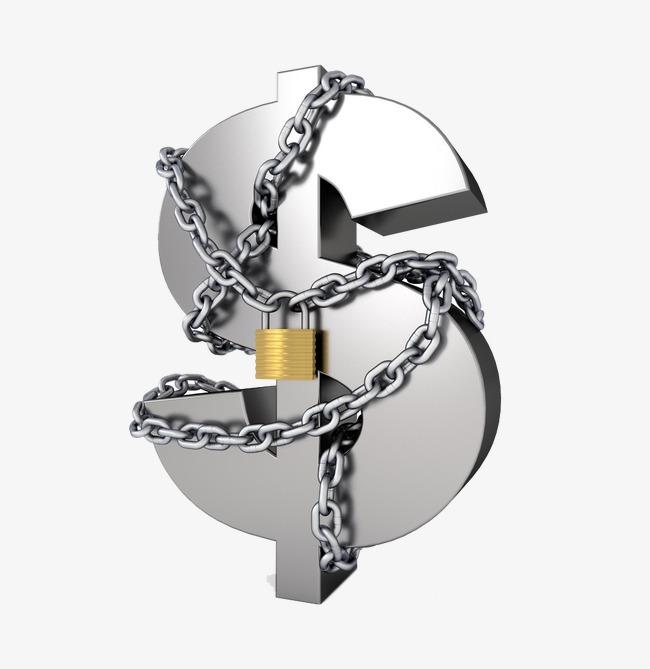 Winding locked dollar sign. Chain clipart lock