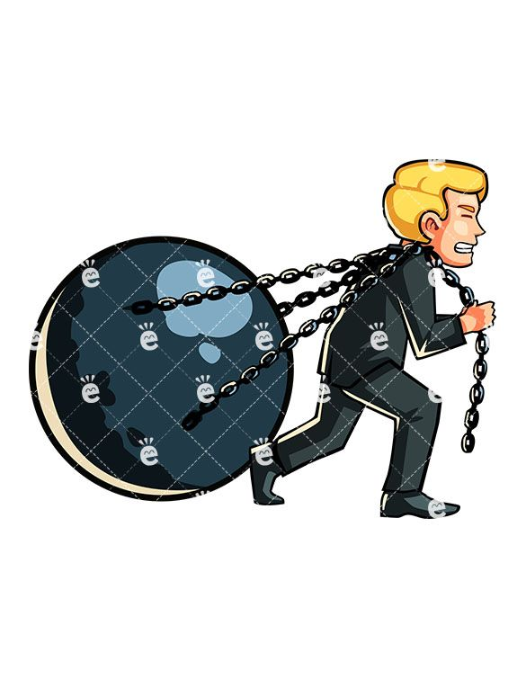 Chain clipart man. A pulling huge ball