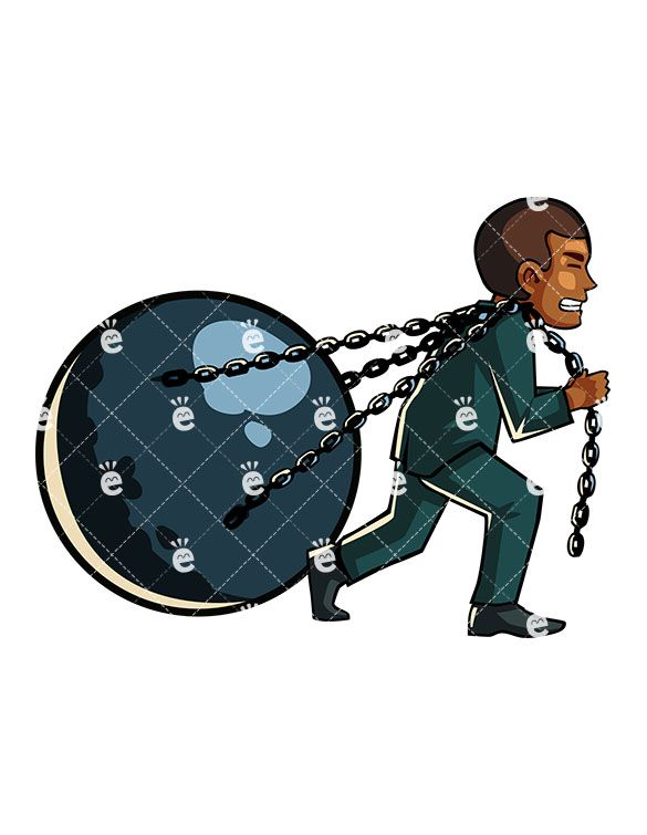 A pulling huge ball. Chain clipart man