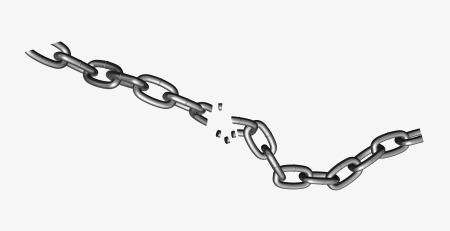 Broken chains shackle fracture. Chain clipart metallic