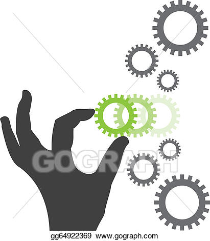 Chain clipart silhouette. Vector art hand placing