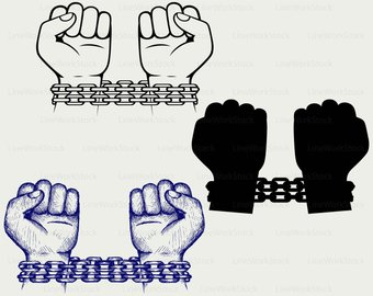 Chain clipart silhouette. Etsy hands chained svgchained
