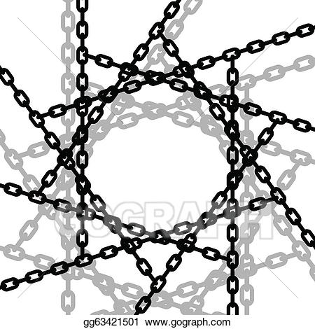 Art entangled chains drawing. Chain clipart vector