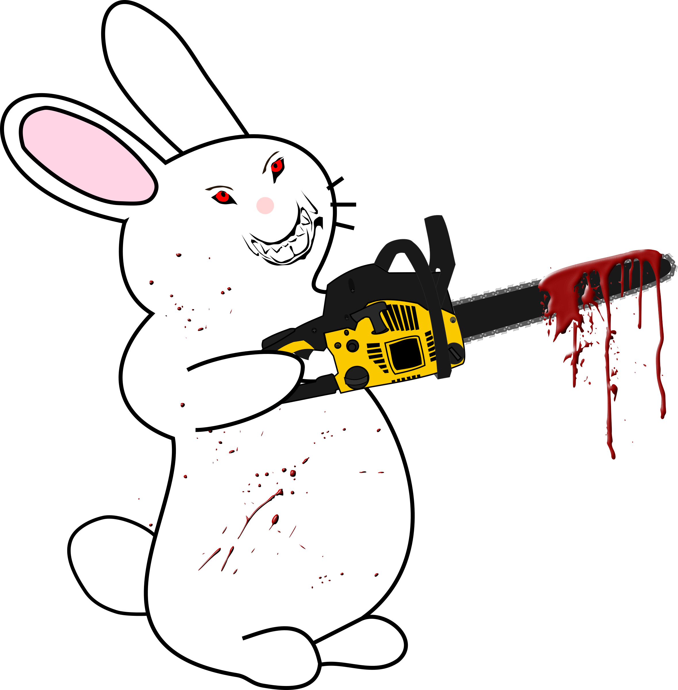 Bunny with chainsaw big. Clipart rabbit angry