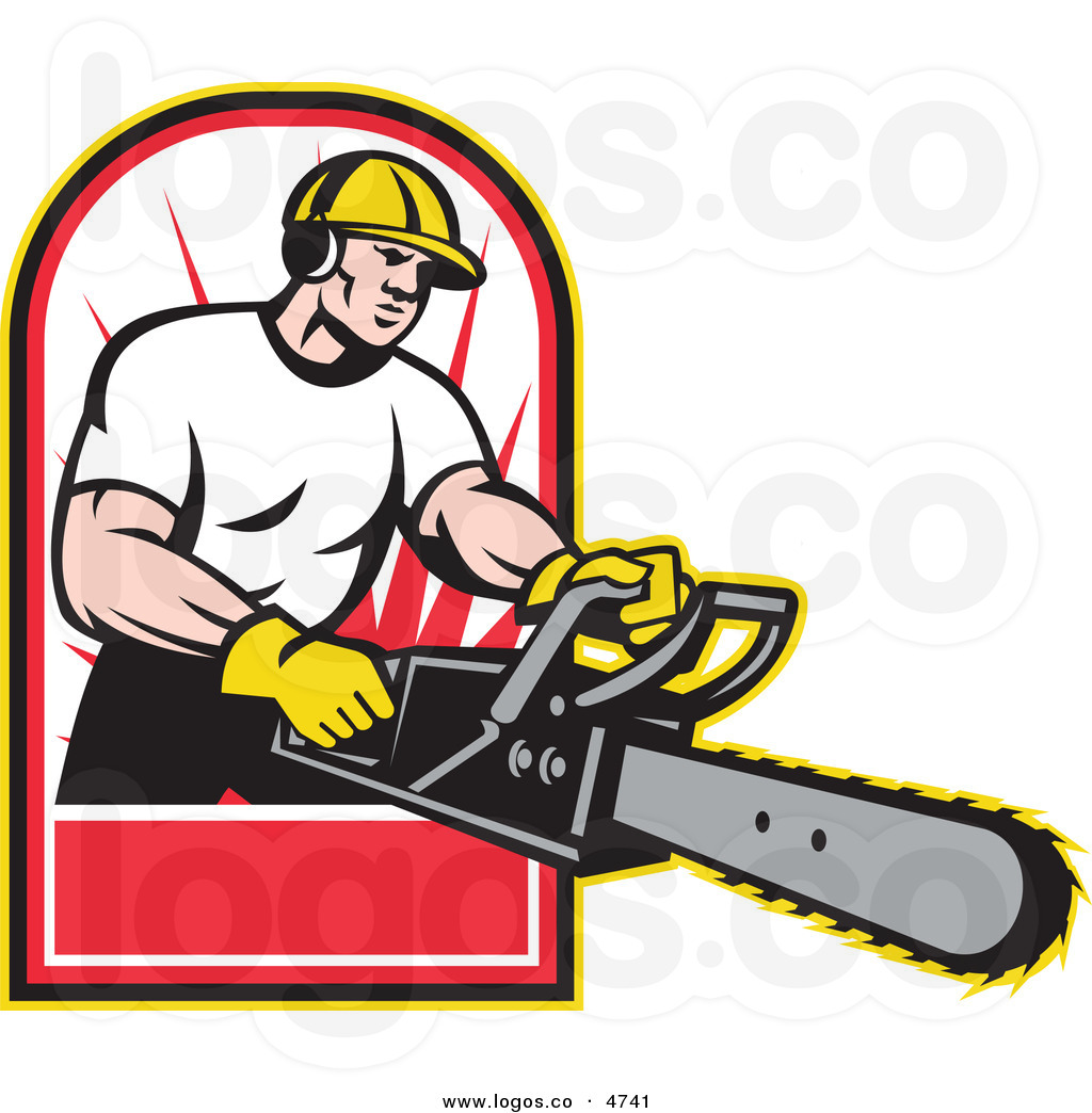 Chain clipart man. Men with chainsaw