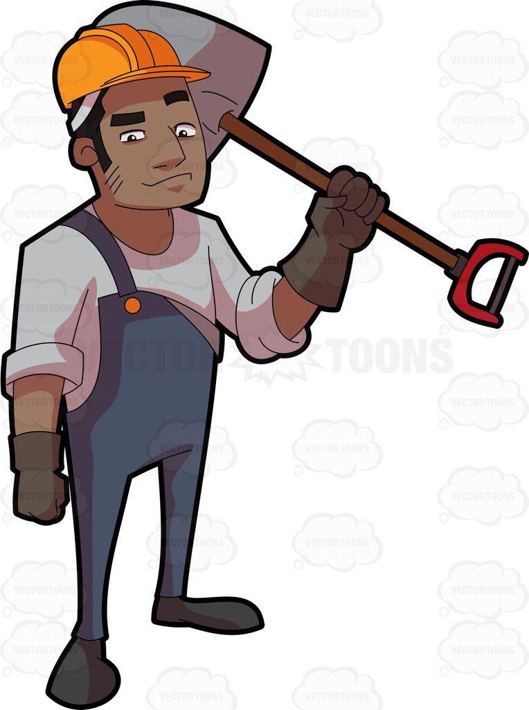 Chainsaw clipart hard labor. A black male construction