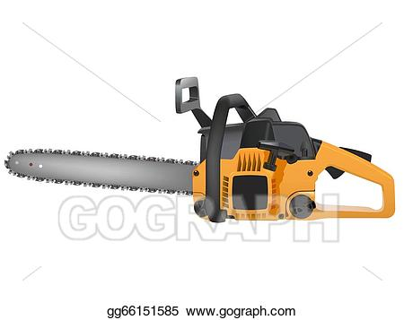 Vector stock yellow illustration. Chainsaw clipart power tool