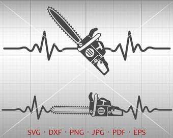 Chainsaw clipart silhouette. Art etsy heartbeat svg
