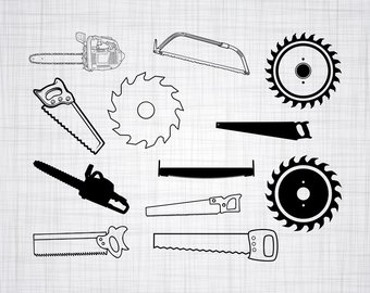 Chainsaw clipart silhouette. Svg file etsy saw