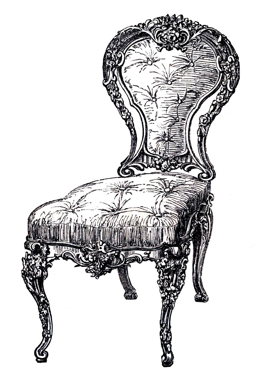 Chair clipart antique. Vintage clip art frenchy