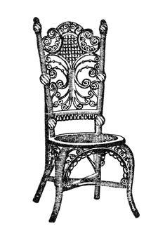 Vintage clip art franz. Chair clipart antique