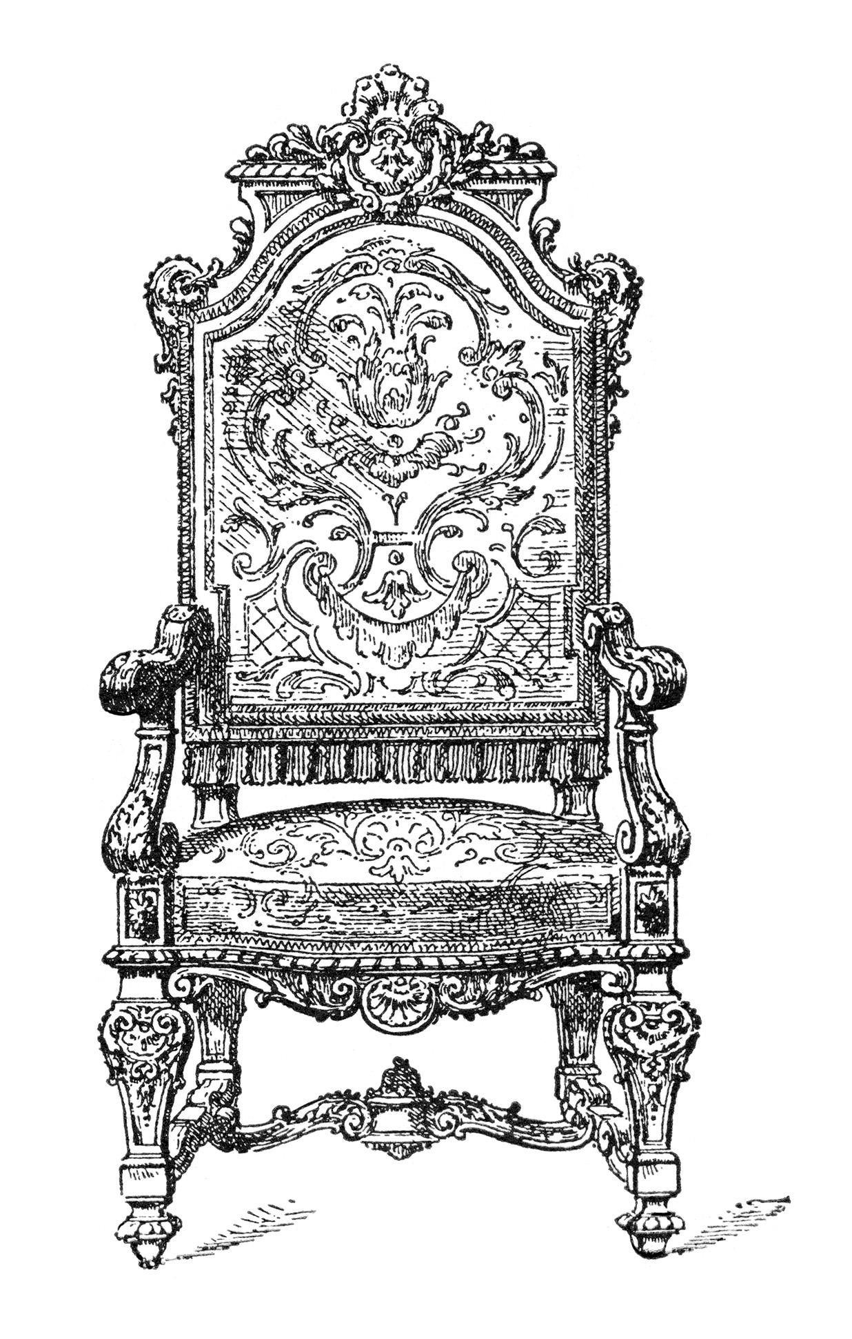 Free vintage image ornate. Chair clipart antique