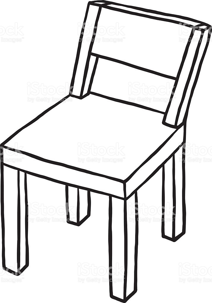 Chair clipart black and white. Wood seat pencil