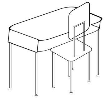 Free clip art of. Desk clipart black and white